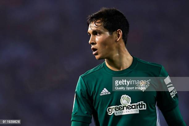 Aissa Mandi of Real Betis looks on during the La Liga match between Celta de Vigo and Real Betis at Balaidos Stadium on January 29 2018 in Vigo Spain