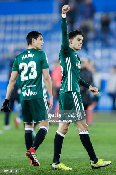 Aissa Mandi of Real Betis Marc Bartra of Real Betis celebrates the victory during the La Liga Santander match between Deportivo Alaves v Real Betis...