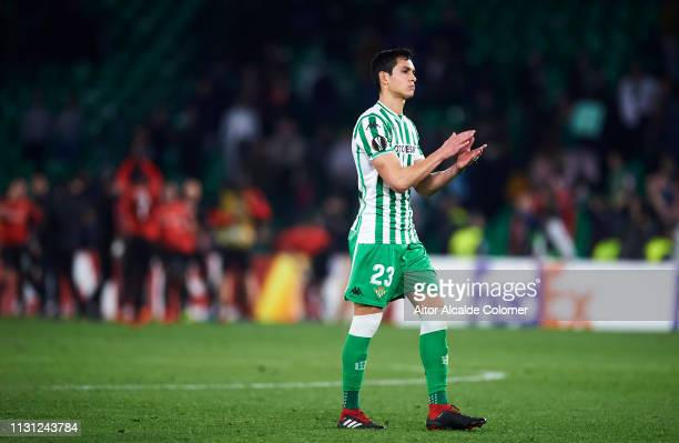 Aissa Mandi of Real Betis reacts after the UEFA Europa League Round of 32 Second Leg match between Real Betis v Stade Rennais at Estadio Benito...