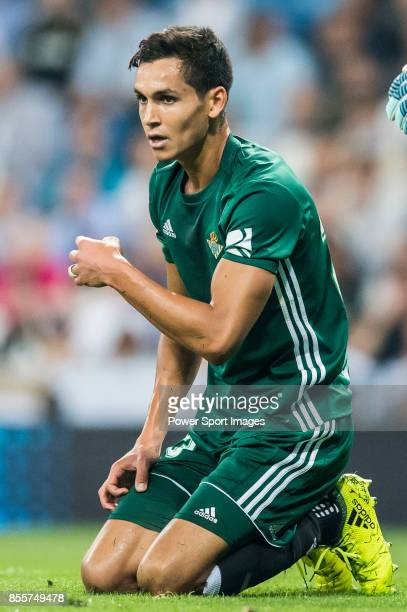 Aissa Mandi of Real Betis reacts during the La Liga 201718 match between Real Madrid and Real Betis at Estadio Santiago Bernabeu on 20 September 2017...