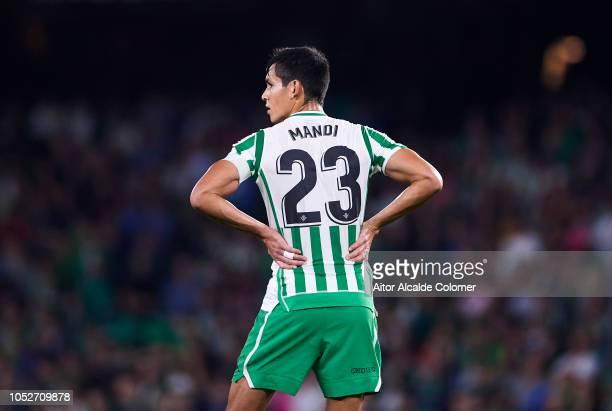 Aissa Mandi of Real Betis reacts during the La Liga match between Real Betis Balompie and Real Valladolid CF at Estadio Benito Villamarin on October...