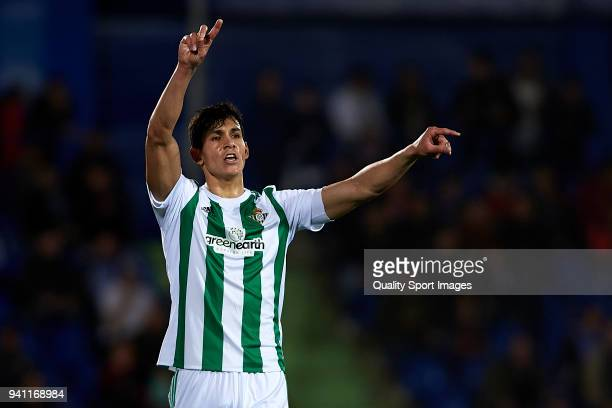 Aissa Mandi of Real Betis reacts during the La Liga match between Getafe and Real Betis at Coliseum Alfonso Perez on April 2 2018 in Getafe Spain