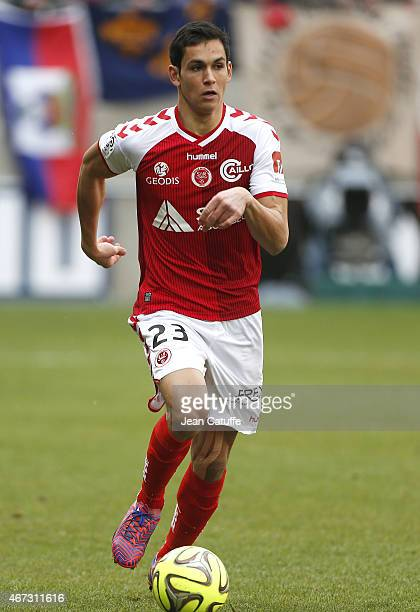 Aissa Mandi of Stade de Reims in action during the French Ligue 1 match between Stade de Reims and AS Monaco at Stade Auguste Delaune on March 22...