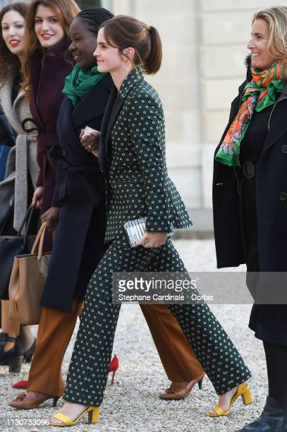 Aissata Lam and Actress Emma Watson attend the first meeting G7 Advisory Committee For Equality Between Women and Men at Elysee Palace on February 19...