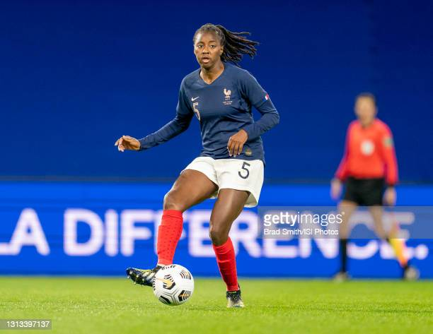 Aissatou Tounkara of France passes the ball during a game between France and USWNT at Stade Oceane on April 13, 2021 in Le Havre, France.