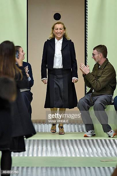 AItalian designer Miuccia Prada walks the runway at the Prada show during the Milan Fashion Week Autumn/Winter 2015 on February 26, 2015 in Milan,...