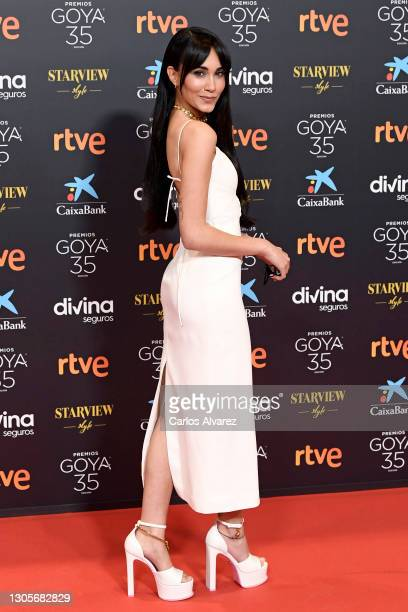 Aitana attends Goya Cinema Awards 2021 red carpet at Gran Hotel Miramar on March 06, 2021 in Malaga, Spain.