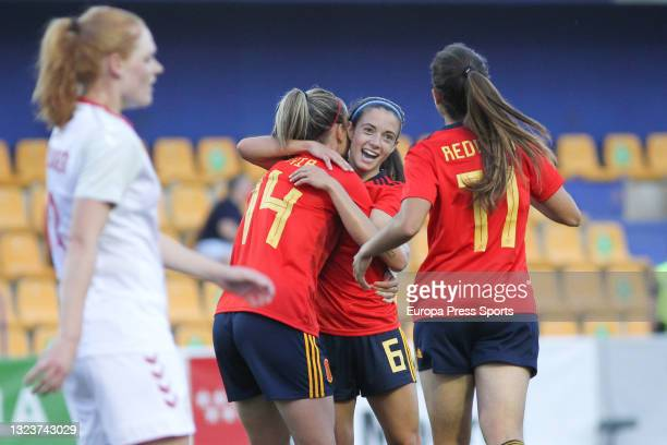 Aitana Bonmati Conca of Spain celebrates a goal with teammates during the women's international friendly match played between Spain and Denmark at...