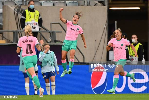 Aitana Bonmati of FC Barcelona celebrates after scoring their side's third goal during the UEFA Women's Champions League Final match between Chelsea...