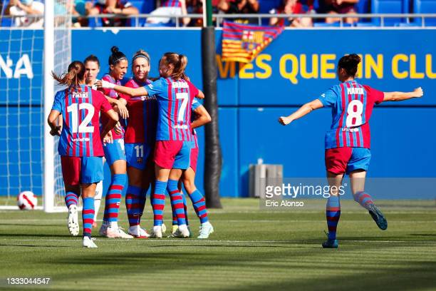 Aitana Bonmati of FC Barcelona celebrates scoring his side's first goal during the Joan Gamper Trophy match between FC Barcelona Women and Juventus...