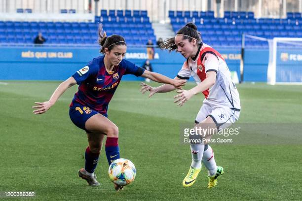 Aitana Bonmati of Fc Barcelona competes with L De Guerenu of Rayo Vallecano during the Spanish League Primera Iberdrola women football match played...