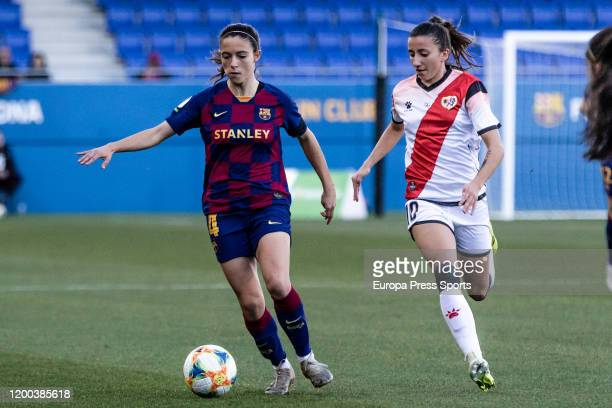 Aitana Bonmati of Fc Barcelona competes with Sheila Garcia of Rayo Vallecano during the Spanish League Primera Iberdrola women football match played...