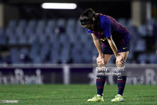 Aitana Bonmati of FC Barcelona disappointed by the defeat at the end of the Liga Iberdrola match at Mini Estadi on February 13 2019 in Barcelona Spain
