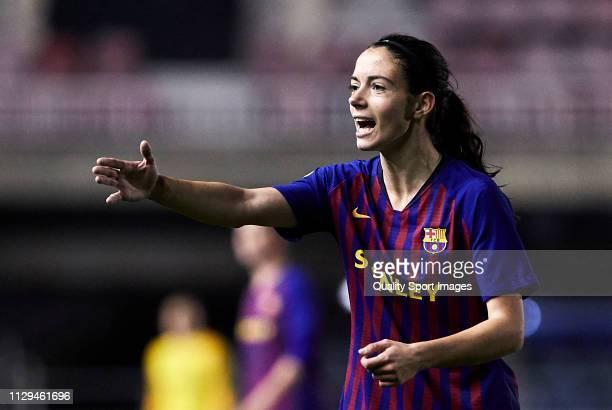 Aitana Bonmati of FC Barcelona gestures during the Liga Iberdrola match at Mini Estadi on February 13 2019 in Barcelona Spain