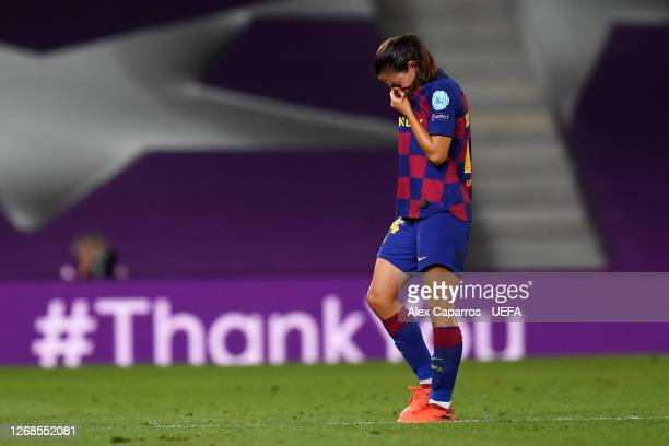 Aitana Bonmati of FC Barcelona looks dejected following her sides defeat in the UEFA Women's Champions League Semi Final between VfL Wolfsburg and FC...