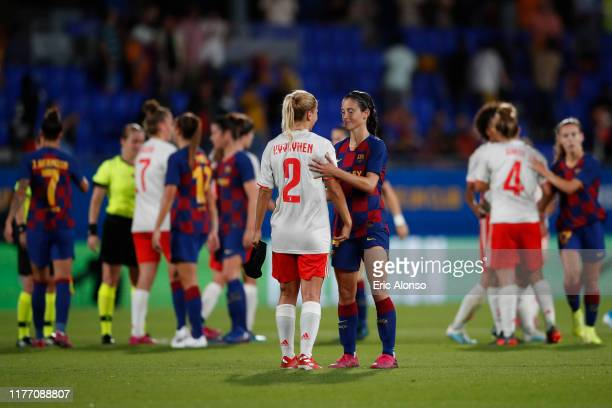 Aitana Bonmati of FC Barcelona shakes hands with Hyyrynen of Juventus FC during the Women'S UEFA Champions League 1/16 second leg match between...