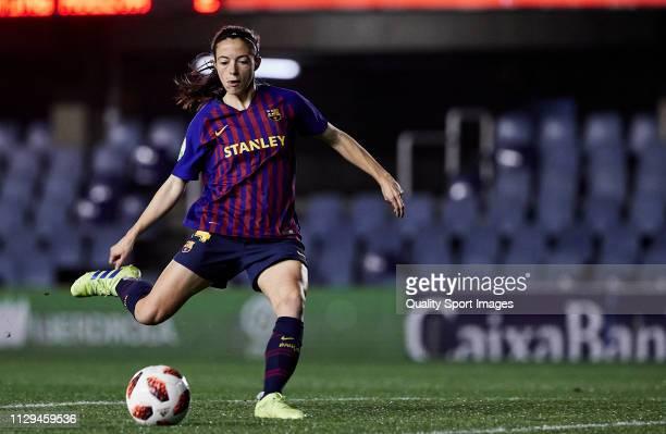 Aitana Bonmati of FC Barcelona shots on goal during the Liga Iberdrola match at Mini Estadi on February 13 2019 in Barcelona Spain