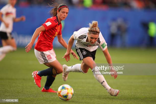 Aitana Bonmati of Spain and Svenja Huth of Germany during the 2019 FIFA Women's World Cup France group B match between Germany and Spain at Stade du...