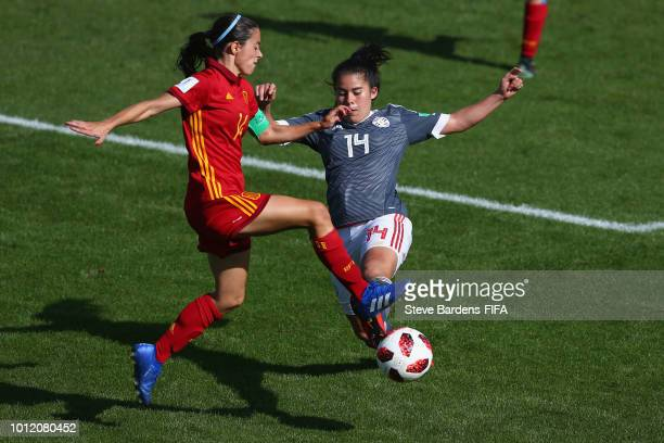 Aitana Bonmati of Spain is tackled by Natalia Villasanti of Paraguay during the FIFA U20 Women's World Cup France 2018 group C match between Paraguay...