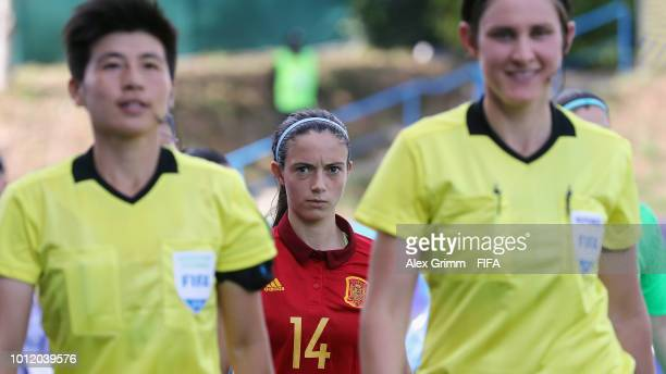 Aitana Bonmati of Spain looks on as the teams walk onto the pitch for the FIFA U20 Women's World Cup France 2018 group C match between Paraguay and...