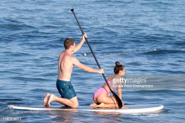 Aitana Ocaña and Miguel Bernardeau are seen on July 15, 2019 in Ibiza, Spain.