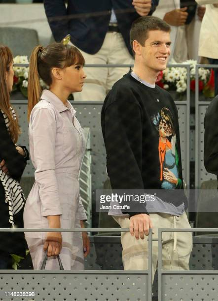 Aitana Ocana and Miguel Bernardeau attend the defeat of Rafael Nadal of Spain against Stefanos Tsitsipas of Greece during day 8 of the Mutua Madrid...