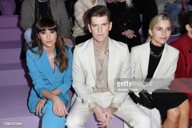 Aitana Ocana, Miguel Bernardeau and Caro Daur attend the Boss fashion show on February 23, 2020 in Milan, Italy.