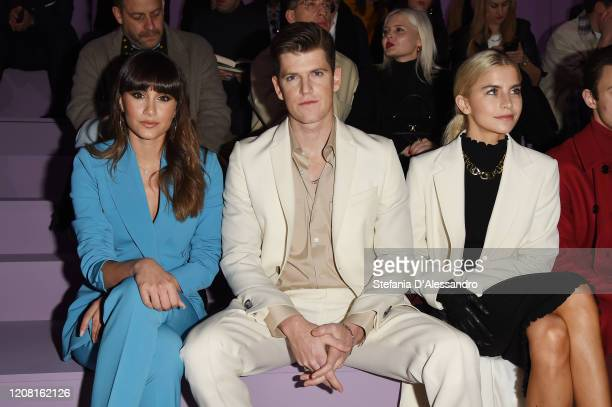 Aitana Ocana, Miguel Bernardeau and Caroline Daur attend the Boss fashion show on February 23, 2020 in Milan, Italy.