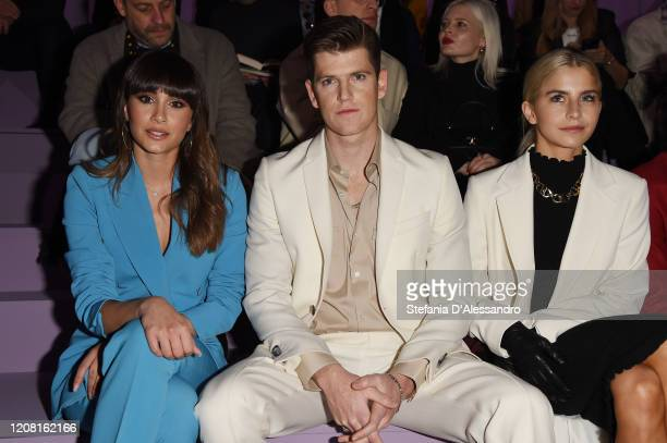 Aitana Ocana Miguel Bernardeau and Caroline Daur attend the Boss fashion show on February 23 2020 in Milan Italy