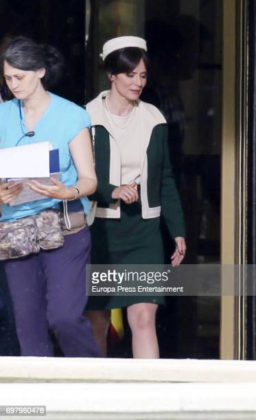 Aitana Sanchez Gijon is seen during the set filming of Galerias Velvet on May 16 2017 in Madrid Spain