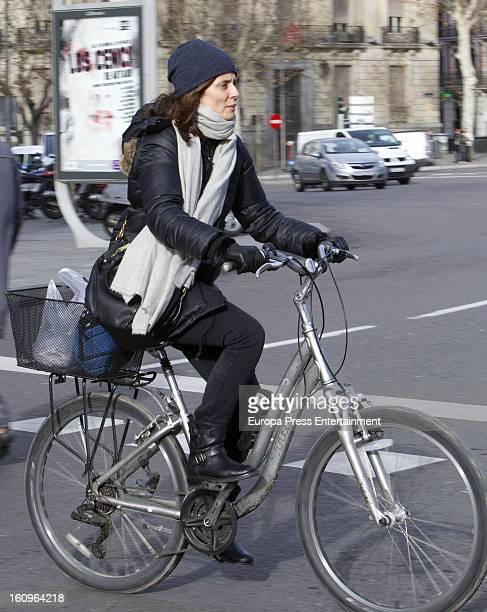 Aitana Sanchez Gijon is seen riding a bike on January 17 2013 in Madrid Spain
