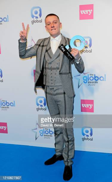 Aitch winner of Rising Star Award poses in the Winners Room during The Global Awards 2020 at the Eventim Apollo Hammersmith on March 05 2020 in...
