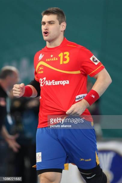 Aitor Arino Bengoechea of Spain celebrates a goal during the men's Handball World Championships main round match Spain vs Algeria in Madrid Spain 11...