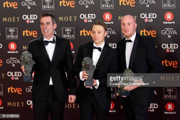 Aitor Berenguer Gabriel Gutierrez and Nicolas de Poulpiquet hold the award for xxxx award during the 32nd edition of the Goya Cinema Awards at Madrid...