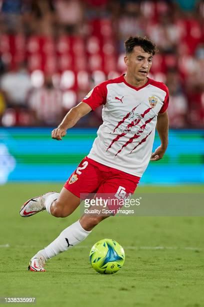 Aitor Bunuel of UD Almeria in action CF during the Liga Smartbank match betwen UD Almeria and Malaga CF at Municipal de Los Juegos Mediterraneos on...