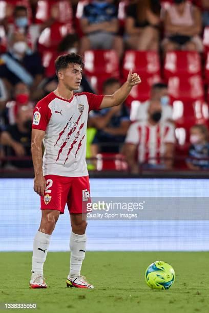 Aitor Bunuel of UD Almeria reacts during the Liga Smartbank match betwen UD Almeria and Malaga CF at Municipal de Los Juegos Mediterraneos on...