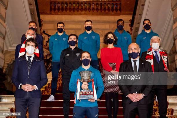 Aitor Elizegui, president of Athletic Club, Iker Muniain, Mikel Balenciaga, Raul Garcia, Inaki Williams and Marcelino Garcia Toral, head coach of...