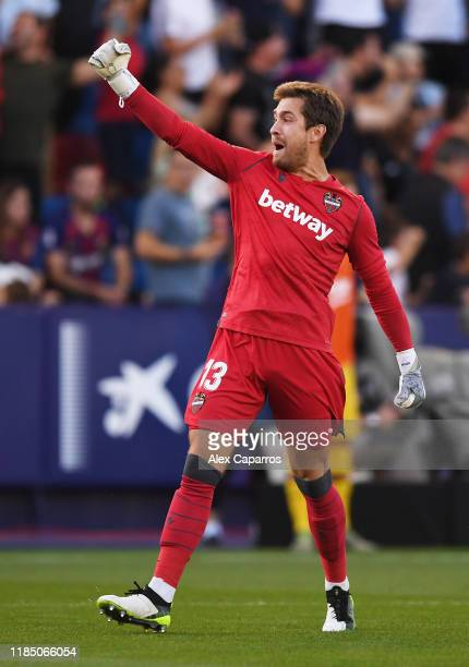 Aitor Fernandez of Levante UD celebrates his team's second goal during the Liga match between Levante UD and FC Barcelona at Ciutat de Valencia on...
