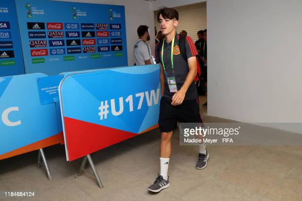 Aitor Gelardo of Spain arrives before the FIFA U17 World Cup Brazil 2019 group E match between Spain and Tajikistan at Estádio Kléber Andrade on...