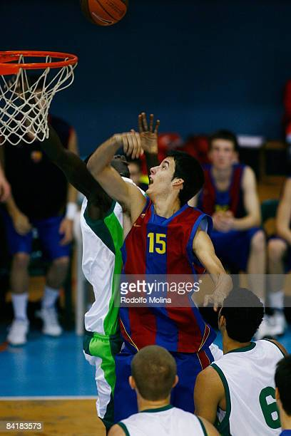 L'HOSPITALET SPAIN JANUARY 6 Aitor Gomez #15 of Regal FC Barcelona in action during the Nike International Junior Tournament L'Hospitalet Semifinal 1...