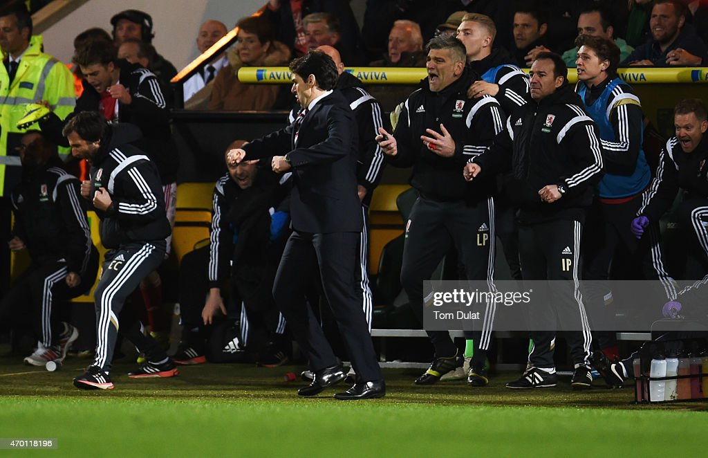 Aitor Karanka manager of Middlesbrough (C) and the team bench celebrate victory after the Sky Bet Championship match between Norwich City and Middlesbrough at Carrow Road on April 17, 2015 in Norwich, England.