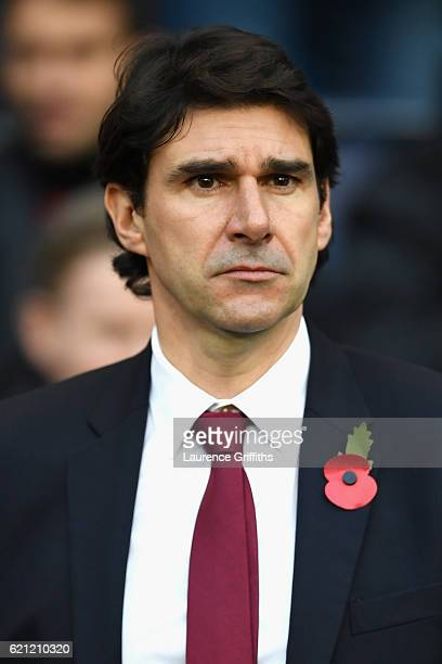 Aitor Karanka Manager of Middlesbrough looks on during the minute of silence in honour of Remembrance Day prior to kick off during the Premier League...