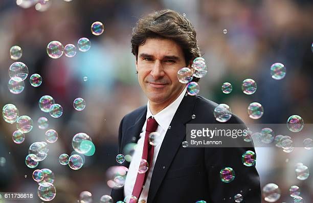 Aitor Karanka Manager of Middlesbrough looks on during the Premier League match between West Ham United and Middlesbrough at London Stadium on...