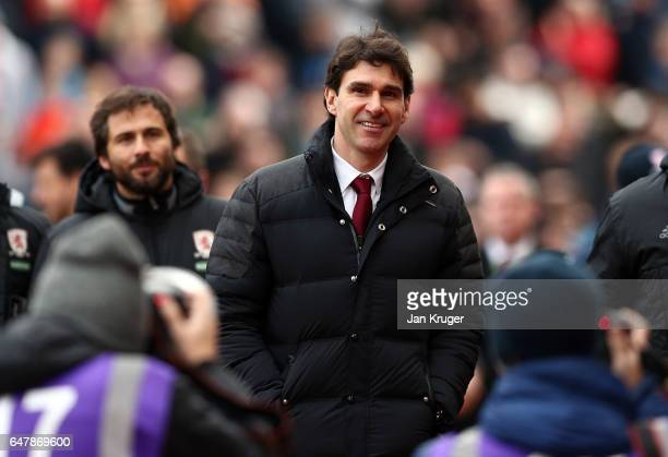 Aitor Karanka manager of Middlesbrough looks on during the Premier League match between Stoke City and Middlesbrough at Bet365 Stadium on March 4...