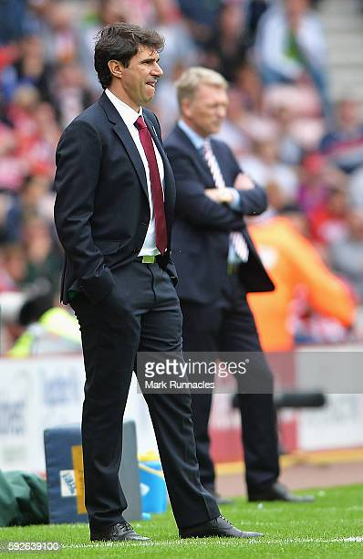 Aitor Karanka Manager of Middlesbrough looks on with David Moyes Manager of Sunderland during the Premier League match between Sunderland and...