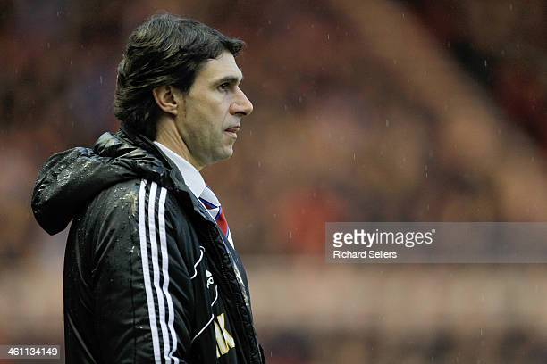 Aitor Karanka manager of Middlesbrough on the sideline during the Budweiser FA Cup Third round match between Middlesbrough and Hull City at Riverside...