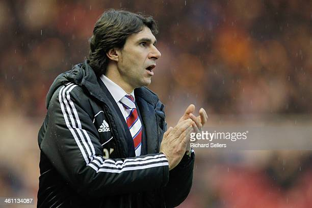Aitor Karanka manager of Middlesbrough shouts during the Budweiser FA Cup Third round match between Middlesbrough and Hull City at Riverside Stadium...