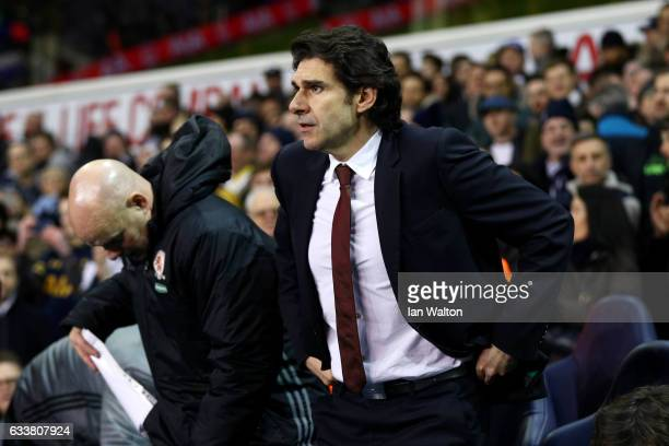 Aitor Karanka manager of Middlesbrough takes his seat before the Premier League match between Tottenham Hotspur and Middlesbrough at White Hart Lane...