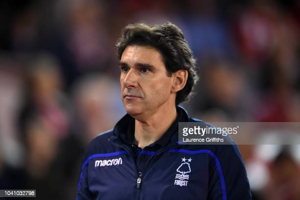 Aitor Karanka Manager of Nottingham Forest looks on prior to the Carabao Cup Third Round match between Nottingham Forest and Stoke City at City...