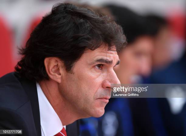 Aitor Karanka Manager of Nottingham Forest looks on prior to the Sky Bet Championship match between Nottingham Forest and West Bromwich Albion at...